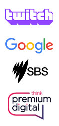 Twitch Google SBS Think logos